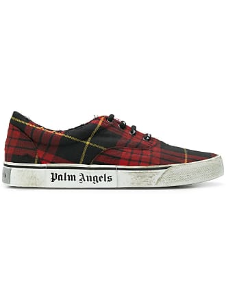 Palm Angels Red Distressed Plaid Low-top Sneakers - The Webster