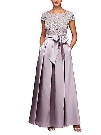Alex Evenings Womens Lace and Satin Ballgown Dress with Sleeve, Vintage Peony, 8