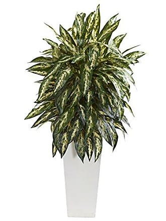 Nearly Natural 8197 Aglaonema Artificial White Planter Silk Plants Green