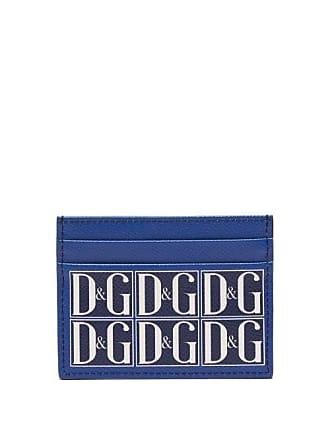 5980a368 Dolce & Gabbana Vintage Style Logo Print Leather Cardholder - Mens - Navy