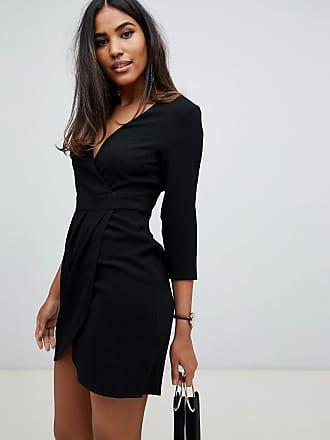 Asos Vestito corto nero con gonna a portafoglio