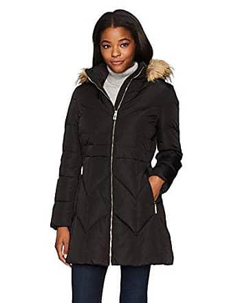 Ivanka Trump Womens Down Coat A Line with Faux Fur, Black, XL