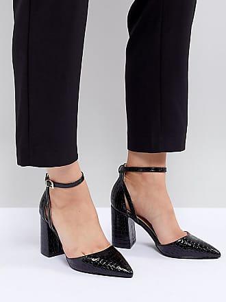 198acb2426fc Raid RAID Wide Fit Katy Black Croc Effect Block Heeled Shoes