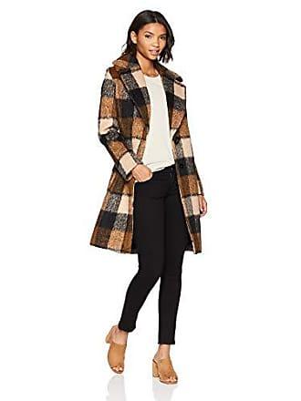 Kensie Womens MID Length Notch Collar Wool Coat, Brown/Taupe/Black Plaid, Large