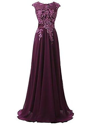 97835dc80a7cb0 Clearbridal Damen Chiffon Lange Ballkleider Abschusskleider Abendkleider  mit Applikation CSD181 Violett Gr.EU38