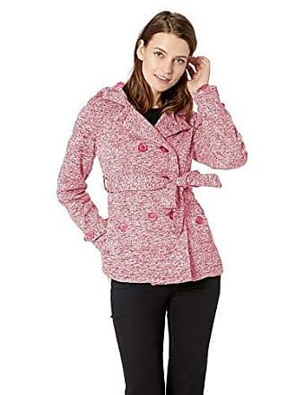 Yoki Womens Double Breast Fleece Jacket, Burgundy Space DYE, Small