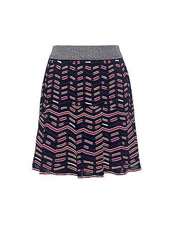 M Missoni Metallic Zigzag Pleated Mini Knit Skirt Ink/fuchsia