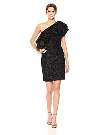 f0d31b91e6be Halston Heritage Womens One Shoulder Metallic Knit Dress with Flounce, Black  8