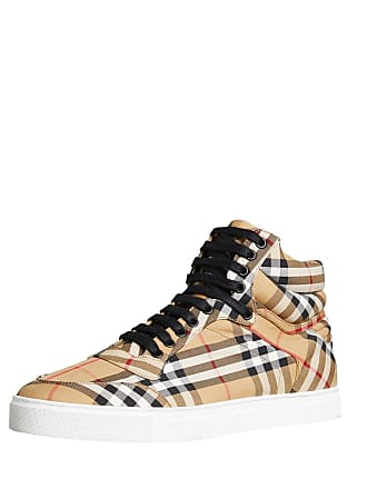 2a5455ccf46 Burberry Mens Reeth Signature Check Canvas High-Top Sneakers