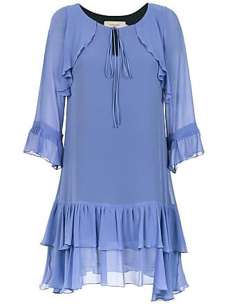 Fillity Vestido de seda com babados - Azul