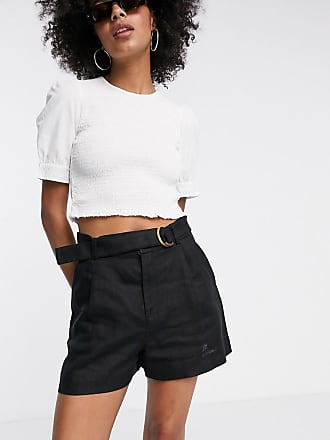& Other Stories linen belted shorts in black