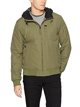 Rvca Mens Hooded Bomber Jacket, Burnt Olive, Small