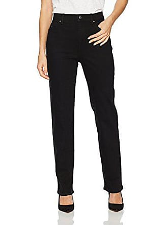 Gloria Vanderbilt Womens Classic Tapered Amanda Jean, Black Rinse Wash/Rosette Embroidery, 12