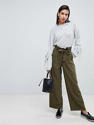 Vero Moda Tie Waist Wide Leg Pants - Green