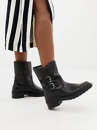 88b9fcea4c6 Dune London Rita Black Leather Flat Ankle Boots With Faux Fur Lining