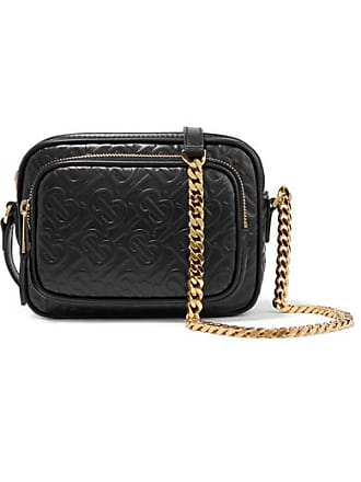 Burberry Embossed Leather Shoulder Bag - Black