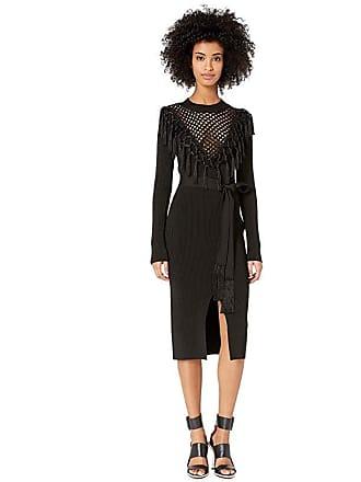 Yigal AzrouËl Macrame Front Knit Dress with Belt (Jet) Womens Dress