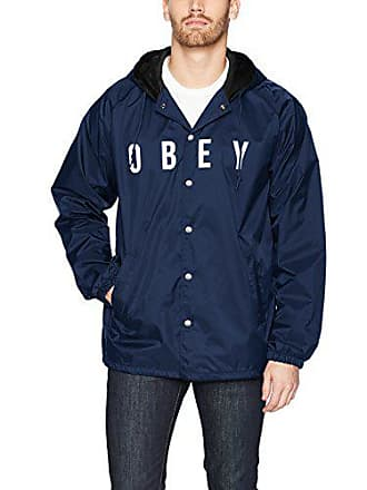 Obey Mens Anyway Coaches Jacket, Navy, Small