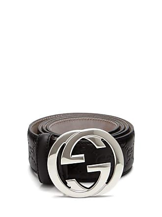 aeac6f806 Gucci Signature Gg Logo Leather Belt - Mens - Black