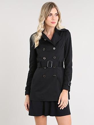 C&A Casaco Trench Coat Feminino Transpassado com Bolsos e Cinto Preto