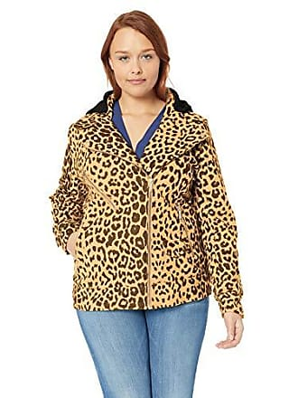 Yoki Womens Plus Size Leopard Print Short Wool Jacket, Camel 1X