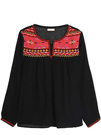 d38abb8b46 Joie Joie Woman Embroidered Cotton-gauze Blouse Black Size XS