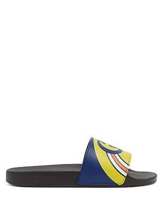 f70a934a73fb Gucci Logo Print Rubber Slides - Mens - Blue Multi
