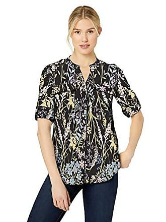 54ca7128c0ed53 Calvin Klein Womens Printed Split Neck Roll Sleeve Blouse, Black Combo,  Medium