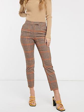 Warehouse slim leg trousers in orange check
