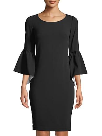 Iconic American Designer Ruffle Bell-Sleeve Sheath Dress