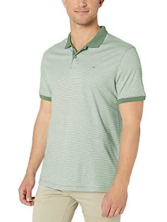 19bfa773 Calvin Klein Mens Liquid Touch Polo Stripe with UV Protection, Bright Moss  Summer, Small