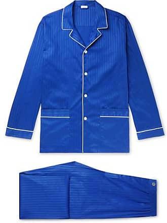 4ca7de7d9f Zimmerli Piped Striped Cotton Satin-jersey Pyjama Set - Storm blue