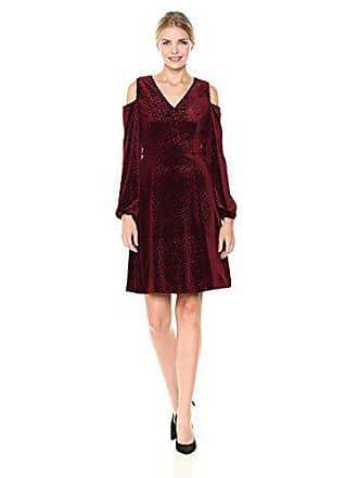 Nine West Womens Velvet Arrow Burnout Cold Shoulder Dress, Bordeaux 18