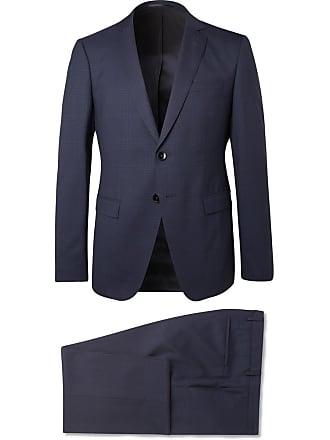 HUGO BOSS Navy Reymond/wenten Slim-fit Checked Virgin Wool Suit - Navy
