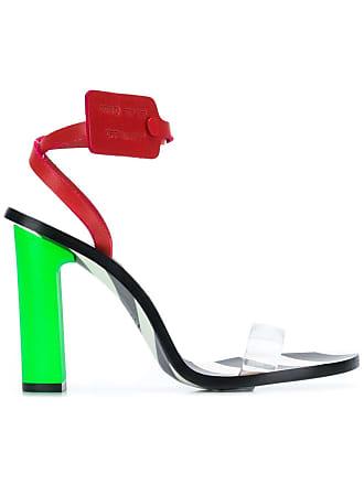 Off-white stripy heeled sandals - Green