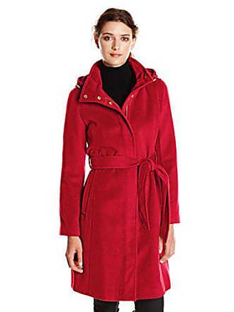 Ellen Tracy Ellen Tracy Outerwear Womens Belted Wool Coat with Hood, Red, 4
