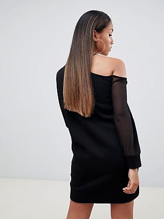 db9d63f4f39d Asos Petite ASOS DESIGN Petite off shoulder sweat dress with mesh sleeve -  Black