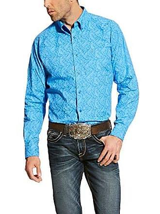 Ariat Mens Fitted Long Sleeve Button Down Shirt, Alcosta Aegean Blue, XL