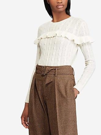 Polo Ralph Lauren Pull à volants en laine et cachemire femme Beige Polo  Ralph Lauren cd76d96fbe1f
