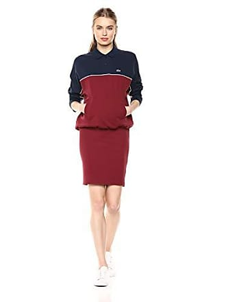 Lacoste Womens L/S Color Blocked Fitted Waist Polo Dress, Navy Blue/Pinot 8