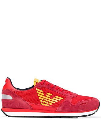 Emporio Armani contrast logo sneakers - Red