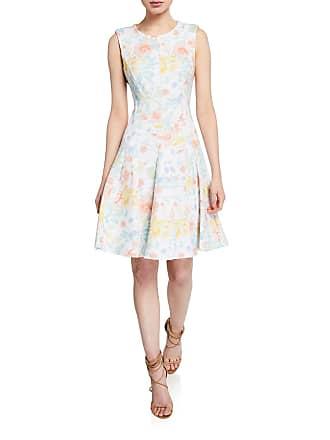 Iconic American Designer Floral Seamed Fit-&-Flare Dress