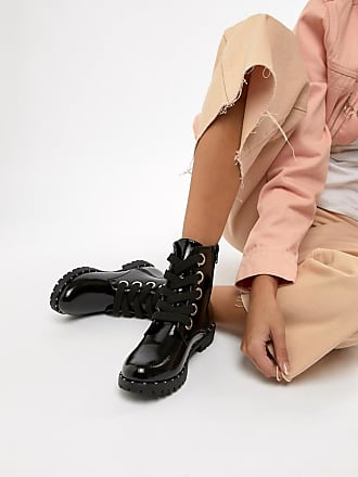 Qupid Qupid Lace Up Chunky Ankle Boots - Black