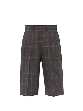 Junya Watanabe Checked Wool Shorts - Mens - Brown Multi