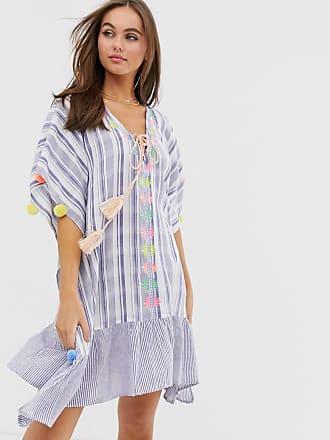 66a8082870cf America & Beyond Strandklänning med volangfåll - Blått/vitt