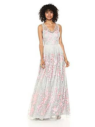 Adrianna Papell Womens Embroidered Tulle Sleeveless Long Dress, Pink/Multi, 8