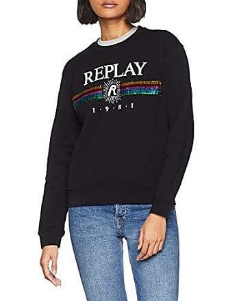 844a0f56b1 Replay W3971f.000.21842 Sweat-Shirt, Noir (Black 98), Small Femme