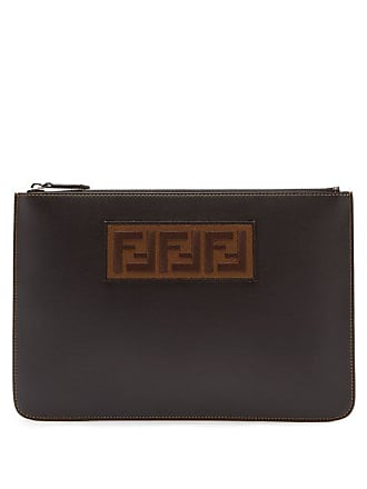 0204e11f81f5 Fendi Logo Patch Leather Pouch - Mens - Black Multi