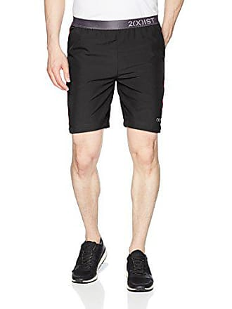 2(x)ist Mens Essential Active Short with Exposed Waistband Shorts, Black/Toreador Contrast, Large