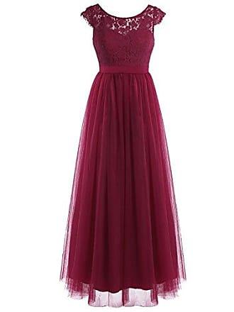 36ec314b935957 TiaoBug Elegant Damen Spitze Kleid festliches Cocktailkleid Abendkleid  Ärmellos Hochzeit Partykleid Langes Cocktailkleid Gr.34